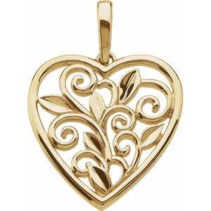 Scroll & Leaf Design Filigree Heart Pendant