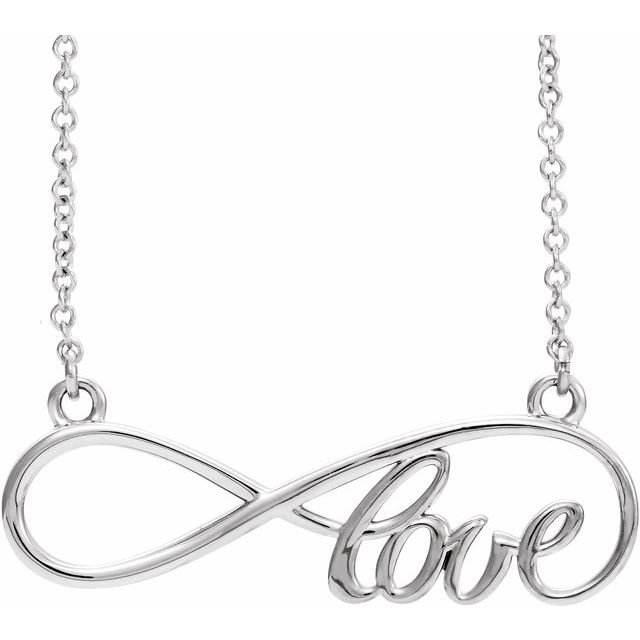 Sterling Silver 27.5x8.4 mm Infinity-Inspired Love 17
