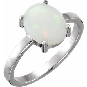 14K White 10x8 mm Oval Opal Cabochon Ring