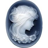 Oval Genuine Black Agate Victorian Lady (B) Cameo