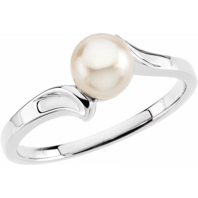 14K White Pearl Ring