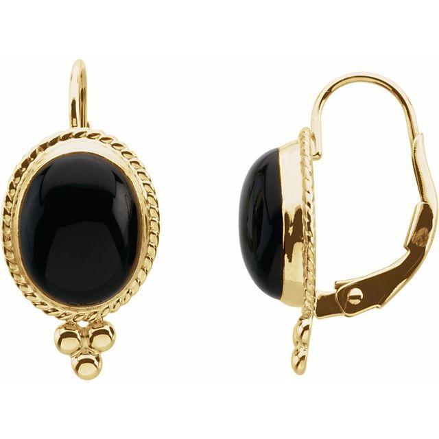 14K Yellow Onyx Rope Design Lever Back Earrings