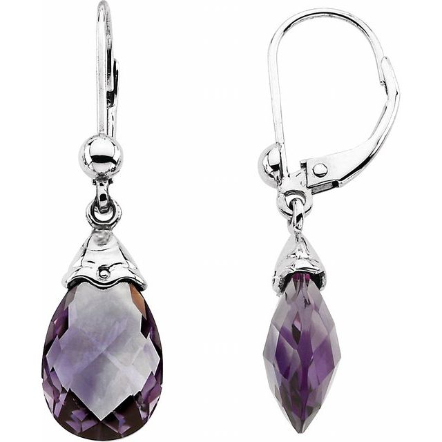 14K White Amethyst Briolette Earrings