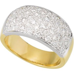 14K White & Yellow 1 CTW Diamond Micro Pave Ring Size 7