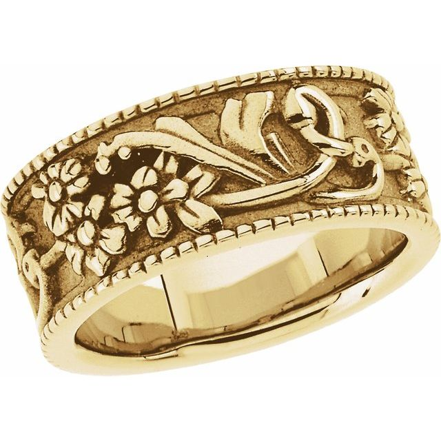 14K Yellow 9 mm Floral Band