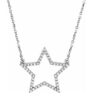 "14K White 1/5 CTW Diamond Star 16"" Necklace"