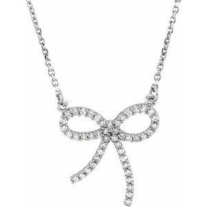 "14K White 1/4 CTW Diamond Bow 16"" Necklace"