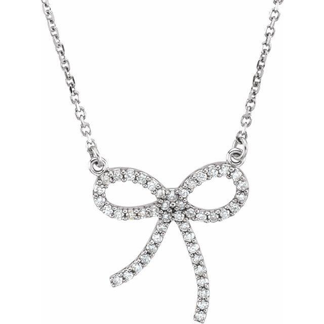 14K White 1/4 CTW Diamond Bow 16