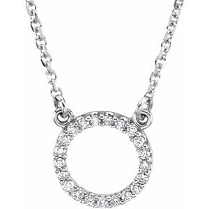 "14K White 1/10 CTW Diamond Circle 16"" Necklace"