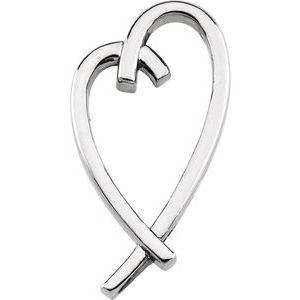14K White 32.5x15.2 mm Heart Pendant