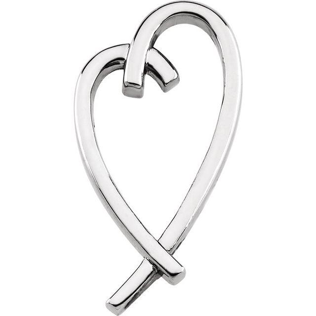 Sterling Silver 32.5x15.2 mm Heart Pendant
