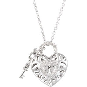 "Sterling Silver 1/6 CTW Diamond Heart 18"" Necklace"