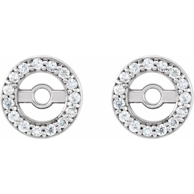 Platinum 1/10 CTW Diamond Earring Jackets with 6.1 mm ID