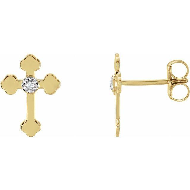 14K Yellow/White .01 CTW Diamond Cross Earrings