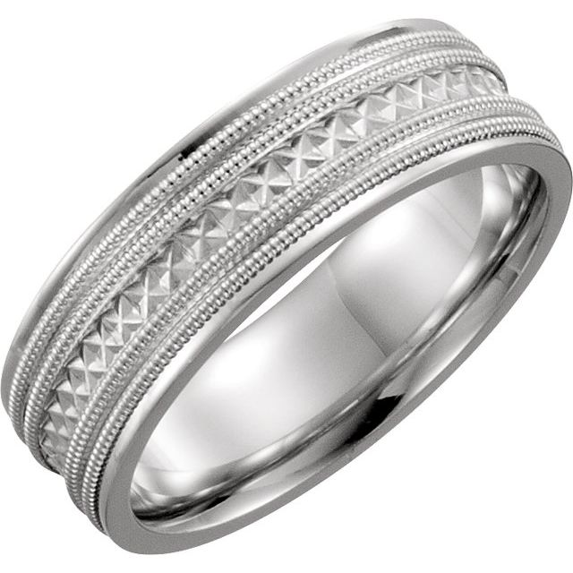 Platinum 6 mm Design-Engraved Band with Double Milgrain Size 11