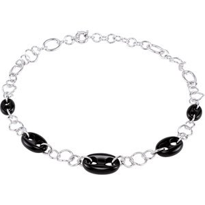 "Sterling Silver Onyx Marine Link 16-18"" Necklace"