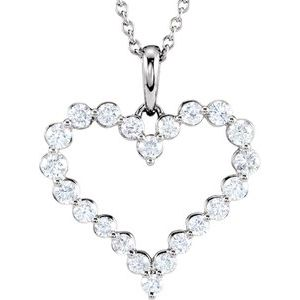 "14K White 1 CTW Diamond Heart 18"" Necklace"