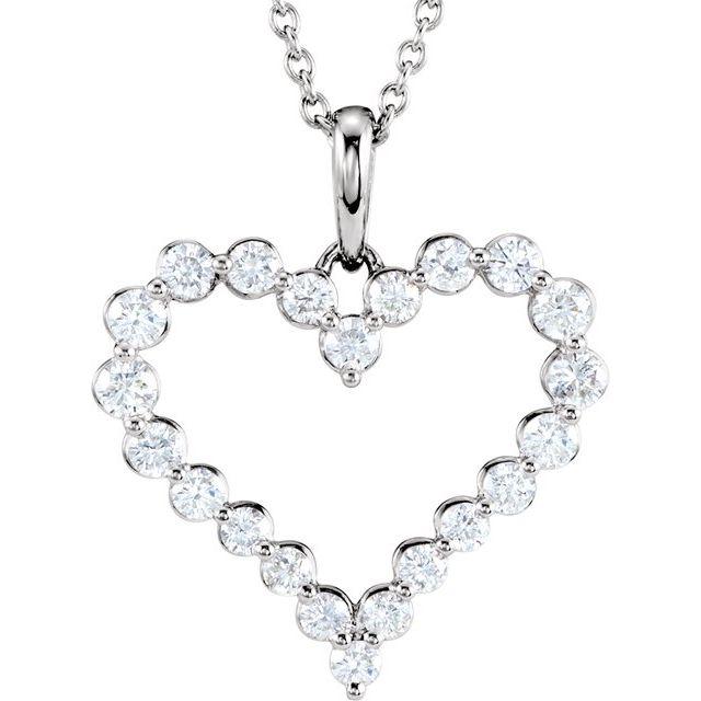 14K White 1 CTW Natural Diamond Heart 18