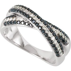 14K White 5/8 CTW Black & White Diamond Criss-Cross Anniversary Band