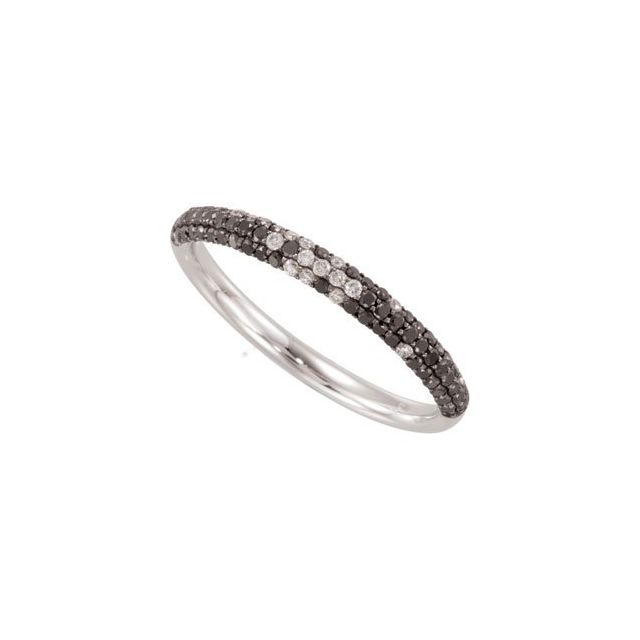 14K White Black Rhodium-Plated 3/8 CTW Black & White Diamond Micro Pavé Ring Size 7