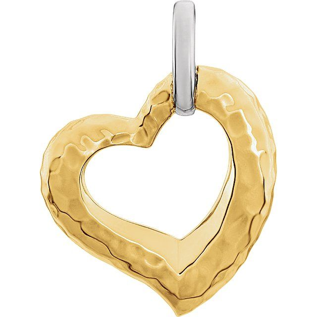 14K Two-Tone 25.3x20.84 mm Hammered Heart Pendant