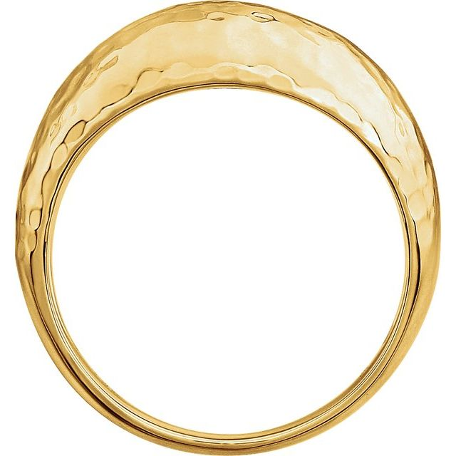 14K Yellow 12 mm Hammered Dome Ring