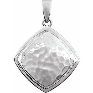 14K White Hammered Square Pendant