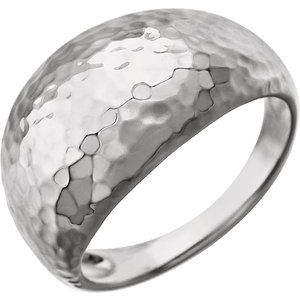 14K White 12 mm Hammered Dome Ring