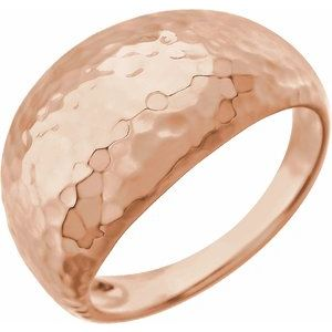 14K Rose 12 mm Hammered Dome Ring