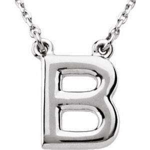 """Sterling Silver Block Initial B 16"""" Necklace"""