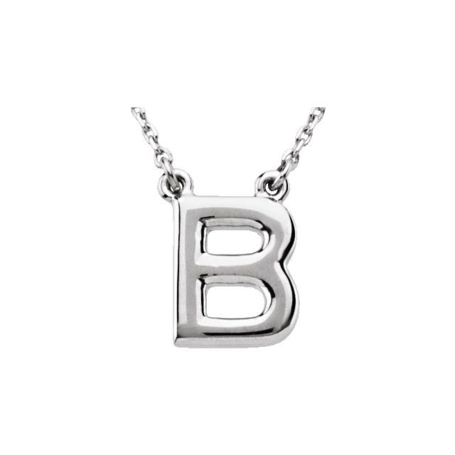Sterling Silver Block Initial B 16