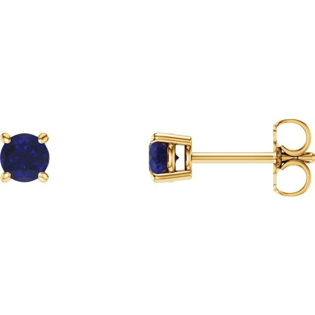 14K Yellow 4 mm Round Lab-Grown Blue Sapphire Earrings