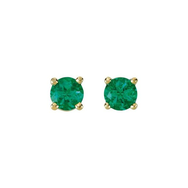 14K Yellow 4 mm Round Lab-Grown Emerald Earrings