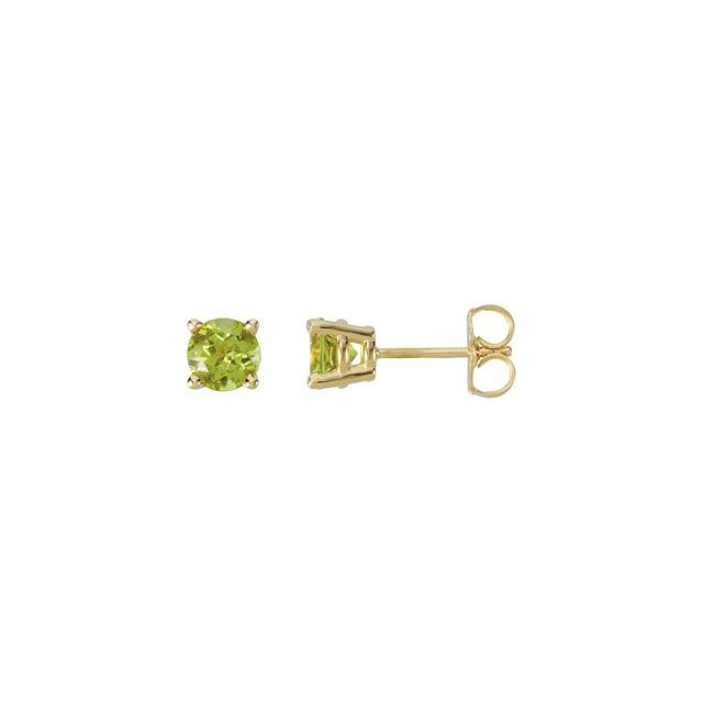 14K Yellow 5 mm Round Peridot Friction Post Stud Earrings