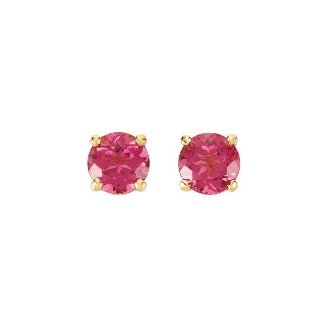 14K Yellow Pink Tourmaline Earrings