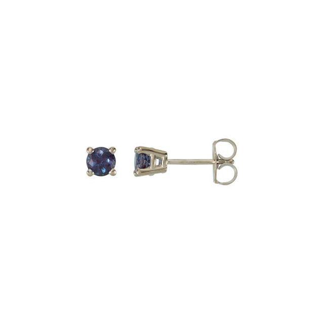 14K White 4 mm Round Lab-Grown Alexandrite Earrings