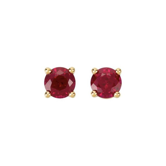 14K Yellow 5 mm Round Lab-Grown Ruby Earrings