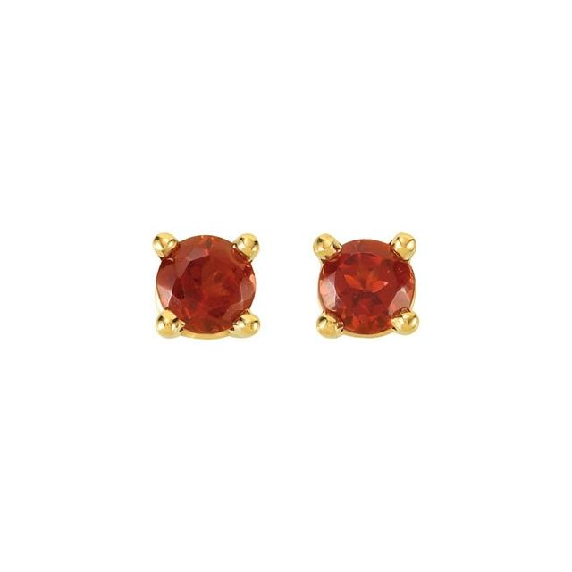 14K Yellow 3 mm Round Mozambique Garnet Friction Post Stud Earrings