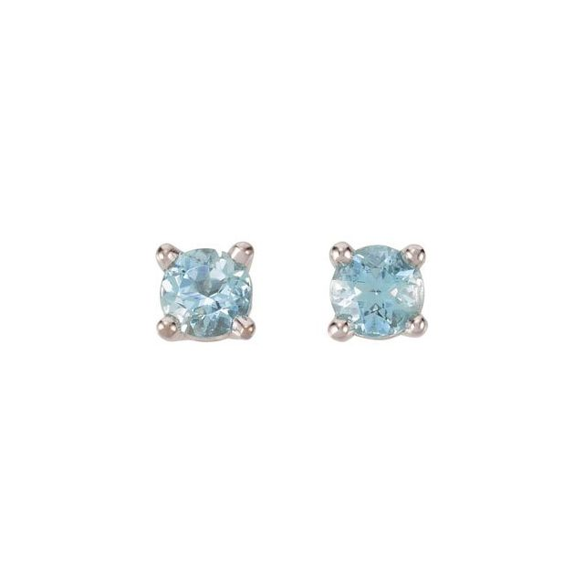 14K White 3 mm Round Aquamarine Earrings