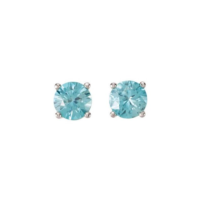 14K White 6 mm Round Blue Zircon Earrings