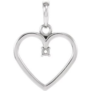 Sterling Silver 2 mm Heart Pendant Mounting