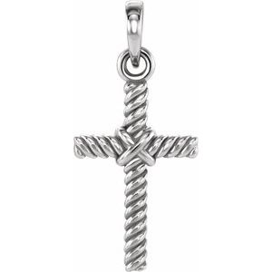 14K White 13.5x8.6 mm Rope Cross Pendant