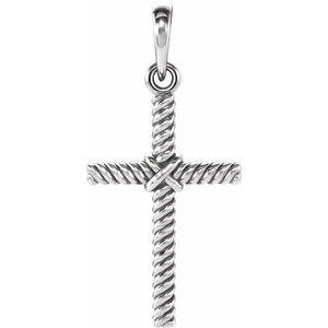 14K White 17.5x11.3 mm Rope Cross Pendant