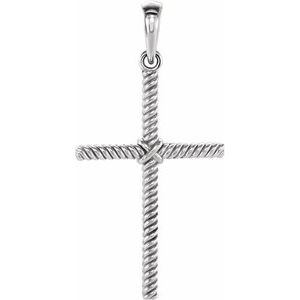 14K White 31.9x16.2 mm Rope Cross Pendant
