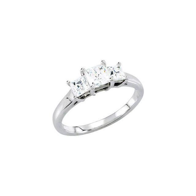 14K Yellow 4.5x4.5 mm Square 1 CTW Natural Diamond 3-Stone Engagement Ring