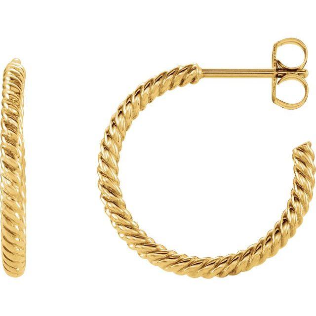 14K Yellow 17 mm Rope Hoop Earrings