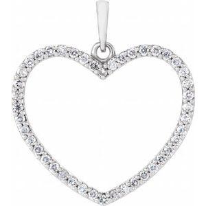 14K White 1/3 CTW Diamond Heart Pendant