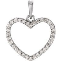 14K White 1/4 CTW Diamond Heart Pendant
