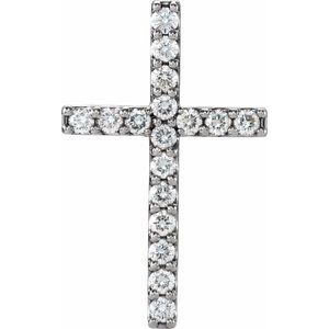 14K White 1/2 CTW Petite Diamond Cross Pendant