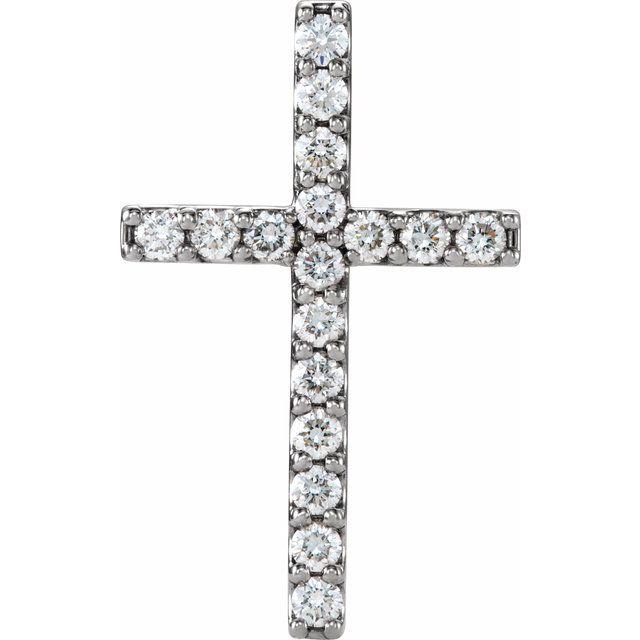 14K White 1/2 CTW Petite Diamond Cross Pendant